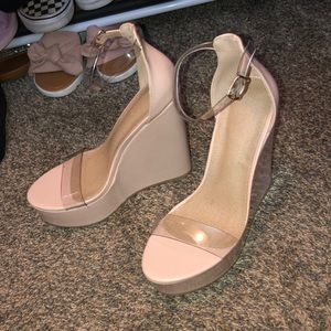 Baby pink wedges size 8